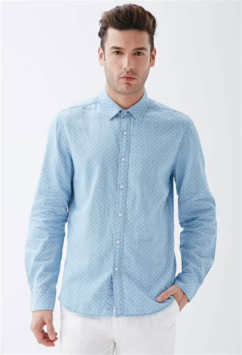 light denim shirt mens lyst forever 21 polka dot chambray shirt in blue for men