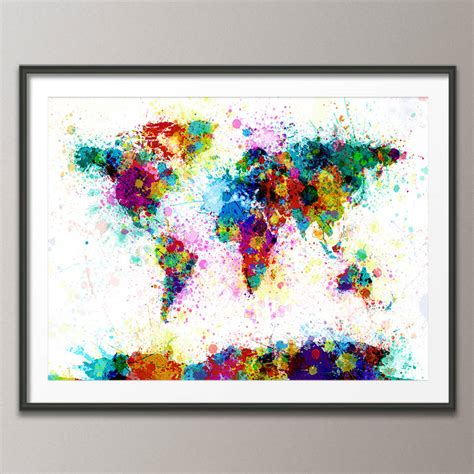 paint splashes world map art print  artpause