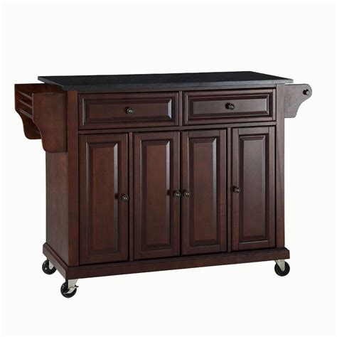 crosley mahogany kitchen cart with black granite top