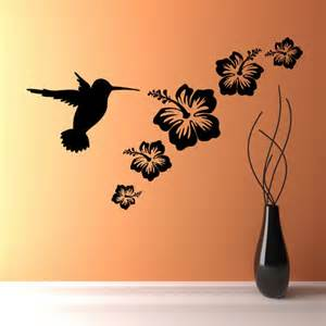 Vinyl Wall Art Stickers humming bird amp flowers set wall art vinyl sticker decals