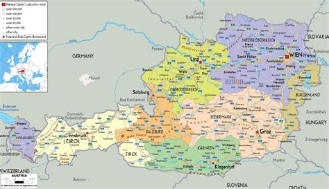 detailed political map of austria ezilon maps