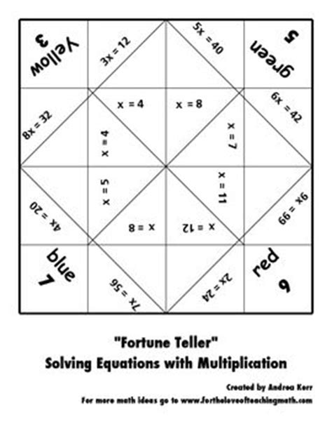 solving equations fortune teller packet equation third