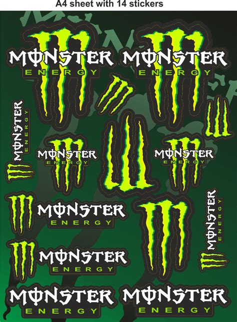 Helm Aufkleber Monster Energy by Monster Energy Stickers Race Stickers Decals Helmet Decal