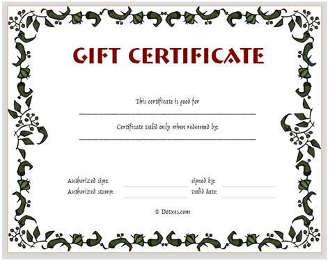 templates for gift certificates free floral gift certificate template