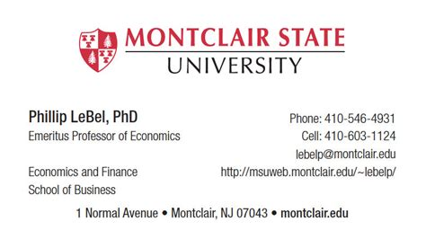 Montclair Mba Finance by Phillip Lebel Homepage
