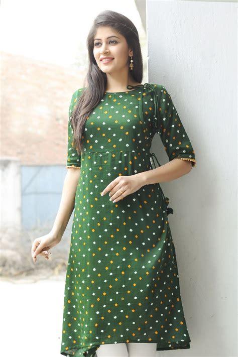 kurti pattern for stitching print paradise green kurta at fabindia fabindia