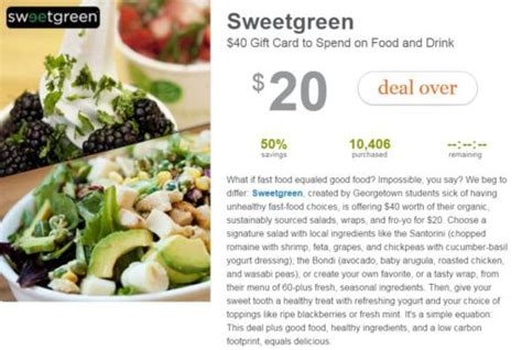 Sweetgreen Gift Card - all sweetgreen deals and coupons on groupon living social and gilt