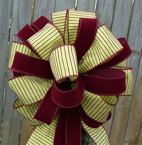 fancy bows for tree top tree top bow burgundy and green tree