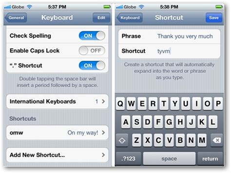 how to create keyboard shortcuts in ios 5 on iphone and