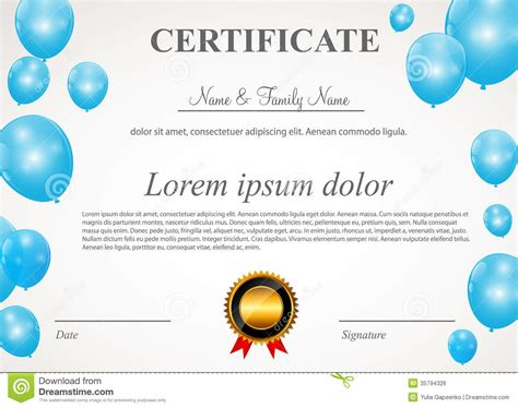 certificate design vector file certificate with balloons template vector royalty free