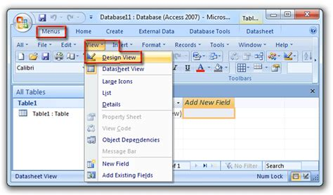 layout view where is design view in microsoft access 2007 2010 2013