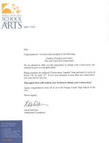 Response To College Acceptance Letter accepted the 14th conservatory
