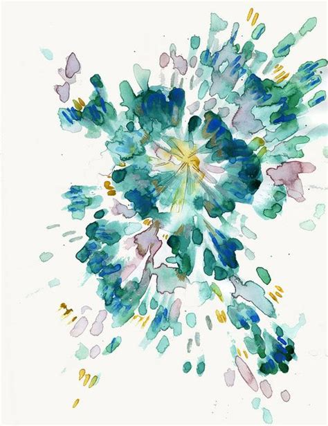 Kemeja Navy Abstract Black Leaf blue green abstract watercolor looks like a flower to