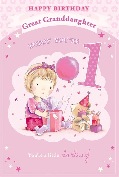 Great Granddaughter 1st Birthday Card Great Granddaughter 1st 1 Today Little Girl Bear With