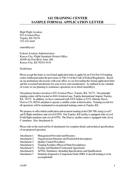 Letter Of Application letter of application