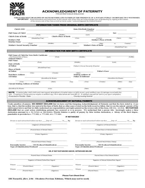 Florida Birth Records Free Florida Health Acknowledgment Of Paternity Free