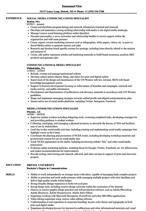 Communications Specialist Resume by Media Communications Specialist Resume Sles Velvet