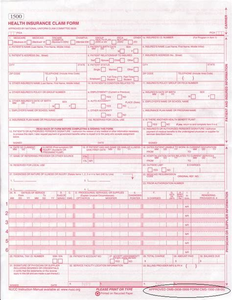 health insurance claim form rrb 1500