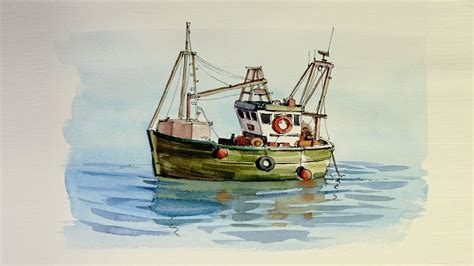 fishing boat artists pen and wash watercolor demonstration small fishing boat