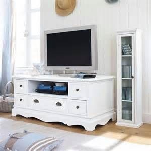 meuble tv en bois de paulownia blanc l 117 cm jos 233 phine