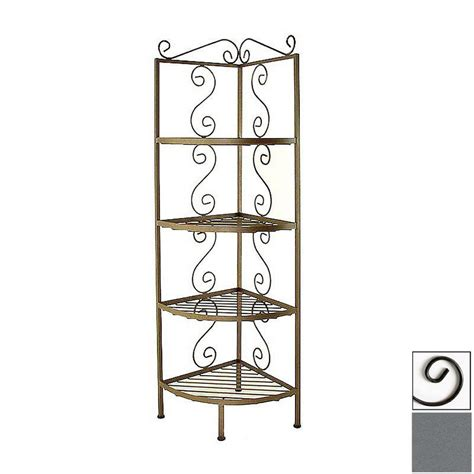 Corner Baker Racks by Shop Grace Collection Gun Metal Corner Bakers Rack At