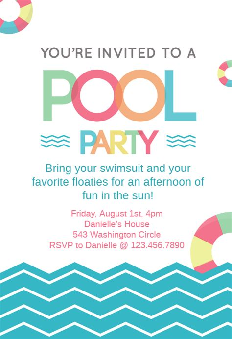 Fun Afternoon Pool Party Invitation Template Free Greetings Island Pool Invitations Templates Free