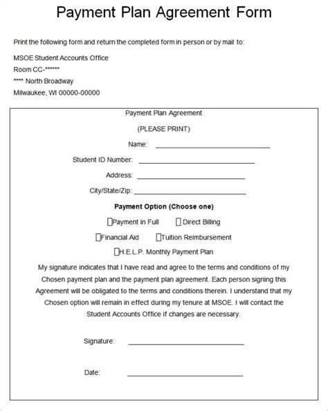 Payment Plan Agreement Templates Word Excel Sles Pay Plan Template