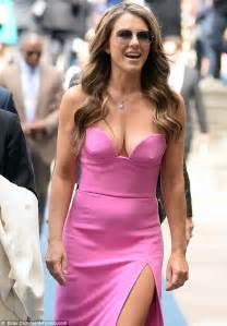 Elizabeth Hurley Wardrobe by Elizabeth Hurley Looks Fabulous At 50 At Nbc Upfronts In