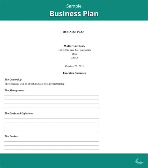 business plan template sle printable