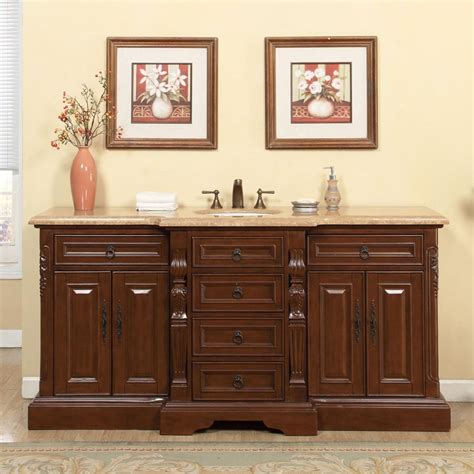 72 inch traditional single bathroom vanity with a
