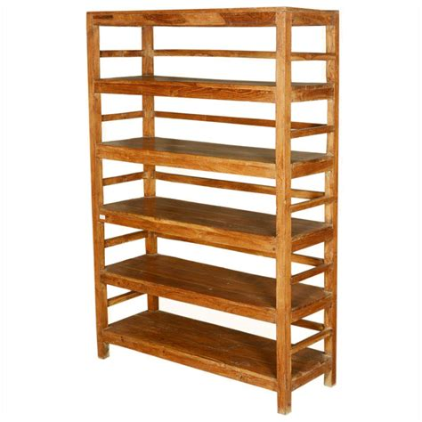 Freestanding Shelf country cabin reclaimed wood freestanding 5 shelf wall unit