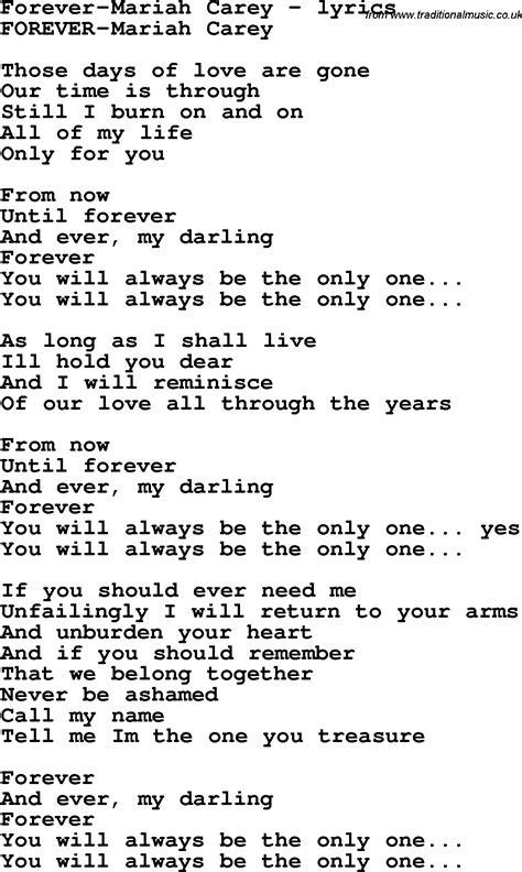 lyrics carey song lyrics for forever carey
