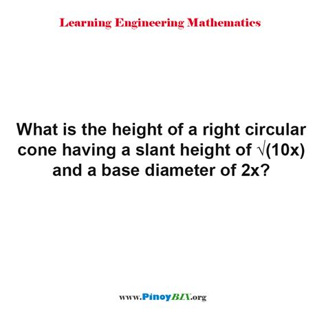 solved what is the correct solution what is the height of a right circular cone