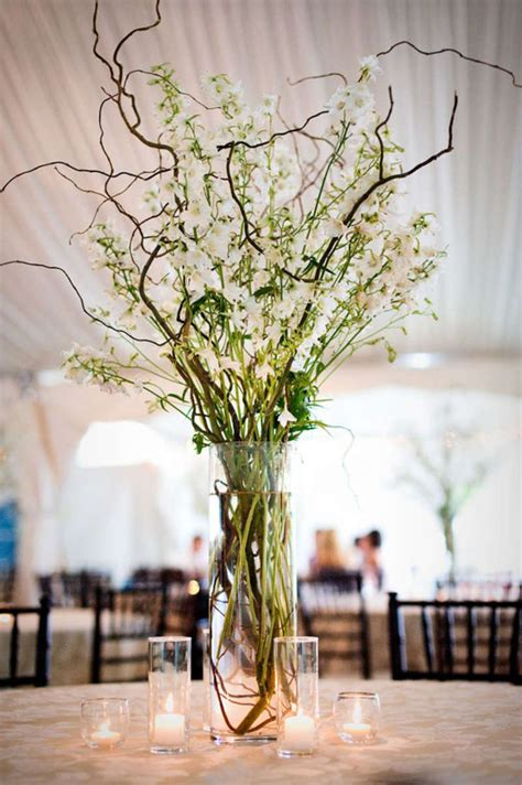 wedding centerpieces ideas not using flowers 30 chic rustic wedding ideas with tree branches tulle chantilly wedding