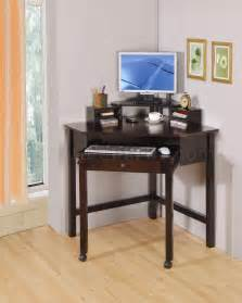 Small Office Desks Rich Cherry Finish Modern Home Office Small Corner Desk W Roller