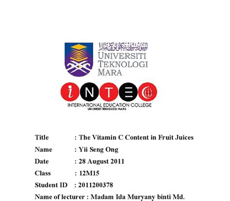 Concentration C Essay by Can Someone Do My Essay Testing The Concentration Of Vitamin C In Different Juices And Fruits