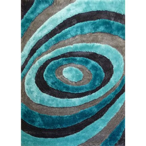 Turquoise And Gray Area Rug Handmade Silver Grey Blue Turquoise Viscose Shag Area Rug 4 X 5 4 Ebay