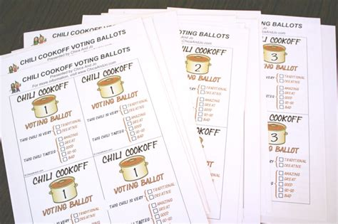 ballot cards template chili cook voting ballots chica and jo