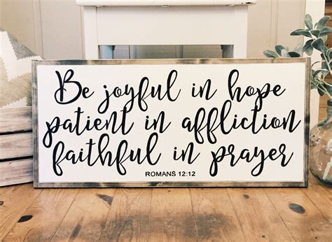 Bible Verses For Home Decor be joyful in hope wood sign home decor scripture sign