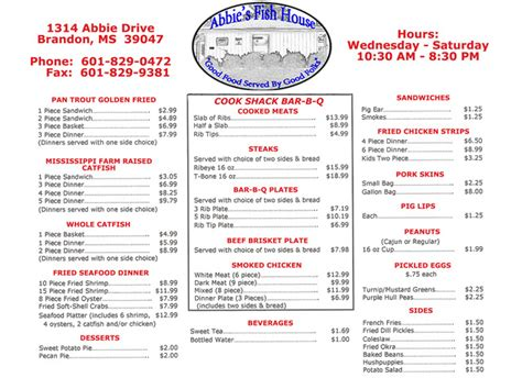 abbie s fish house menu reviews brandon 39047