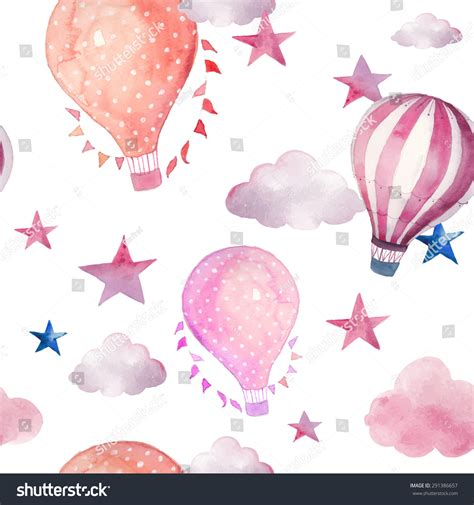 watercolor pattern with air balloons and clouds stock watercolor seamless pattern air balloon clouds stock