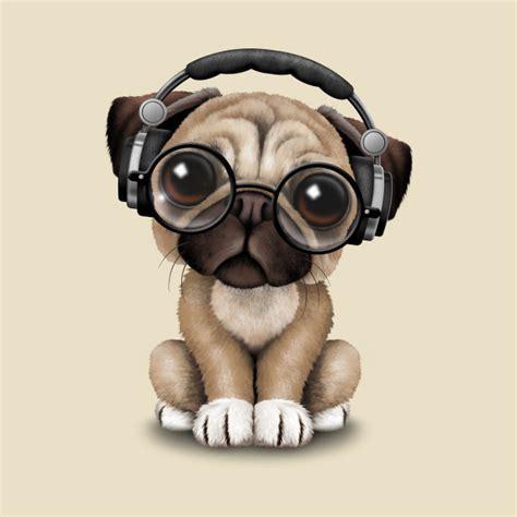 wearing pug shirt pug puppy dj wearing headphones and glasses pug t shirt teepublic