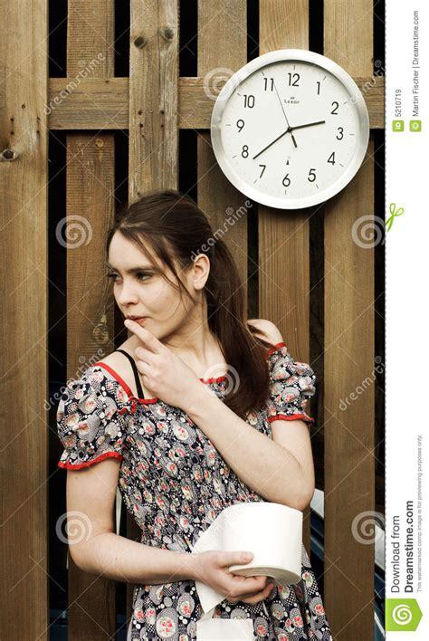 nervous girl  toilet paper stock image image