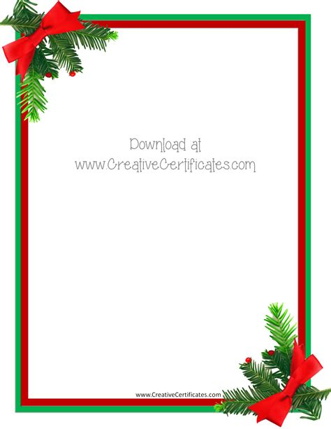 Free Christmas Border Templates Customize Online Then Download Free Letter Templates With Picture Insert