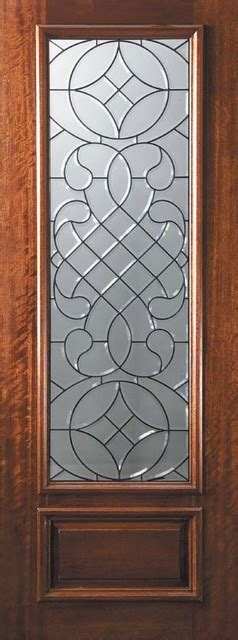 Exterior Slab Doors With Glass Slab Entry Single Door 96 Wood Mahogany Savoy 1 Panel 3 4 Lite Glass Eclectic Front Doors