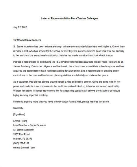 Reference Letter From Work Colleague Letter Of Recommendation For Colleague Recommendation Letter
