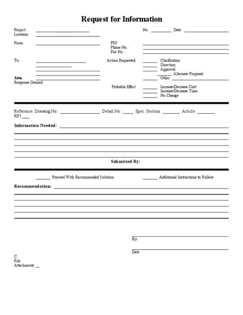 rfi document template blank sle rfi form