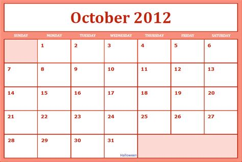 October 2012 Calendar Calendar Printable Images Gallery Category Page 14