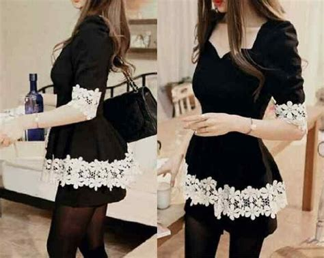 Baju Cewek Pakaian Wanita Mini Dress Pendek Hitam List Putih Clo583 Baju Dress Pendek Mini Dress Hitam Cantik Murah