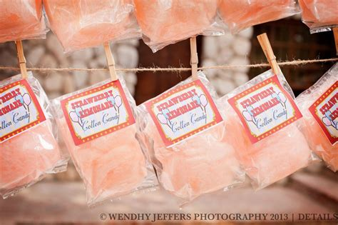 Candy Giveaways - cotton candy party favors with custom label